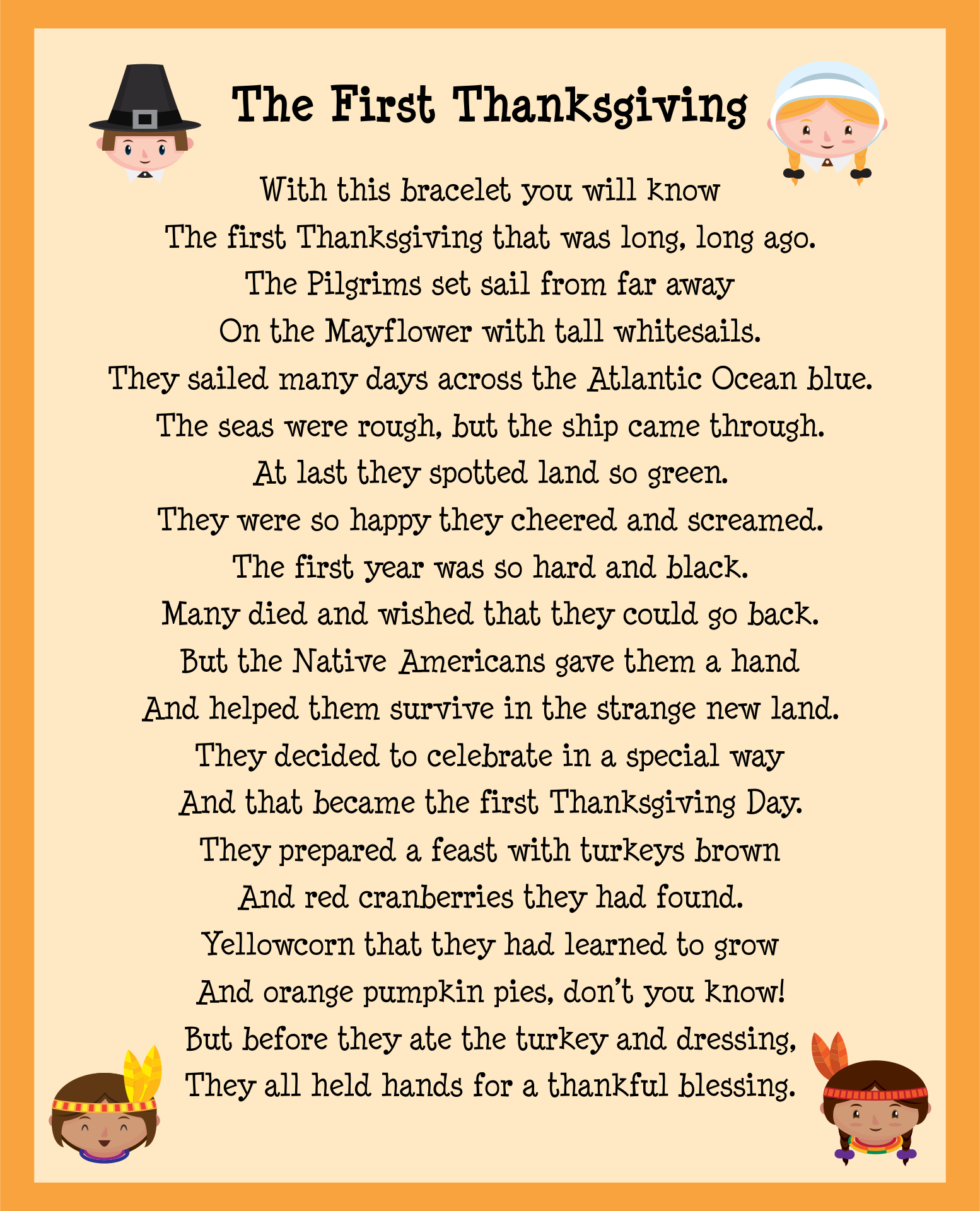 Thanksgiving Story Printable