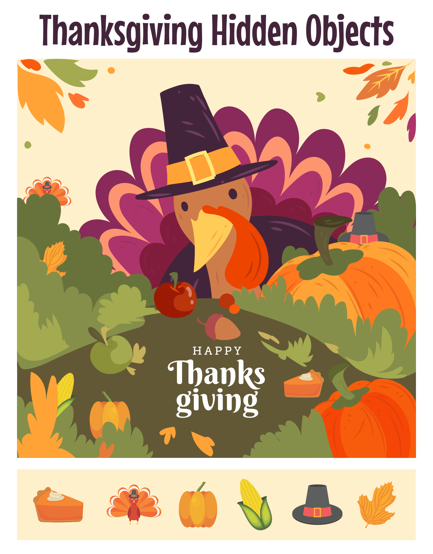 Printable Thanksgiving Hidden Picture Games