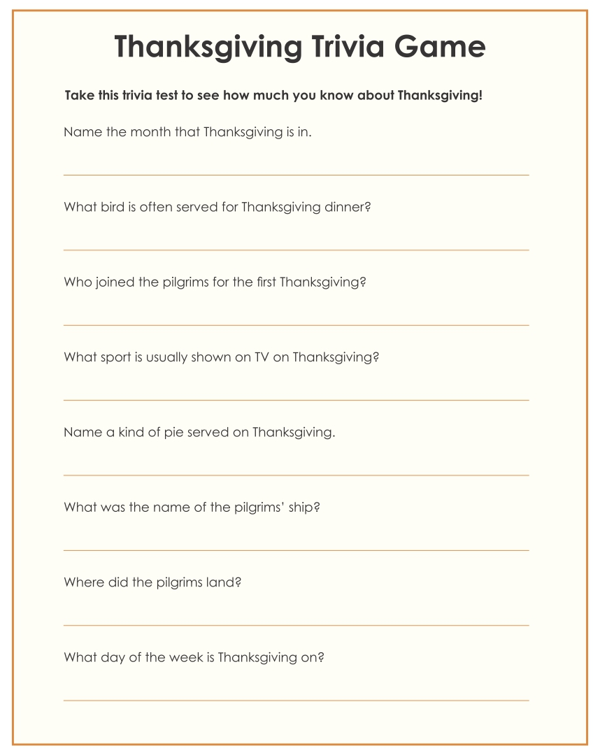 Printable Thanksgiving Trivia Game