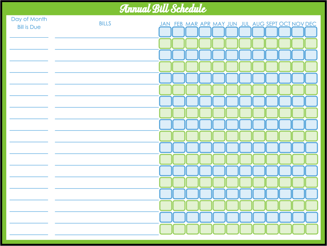 Printable Monthly Bill Payment Schedule
