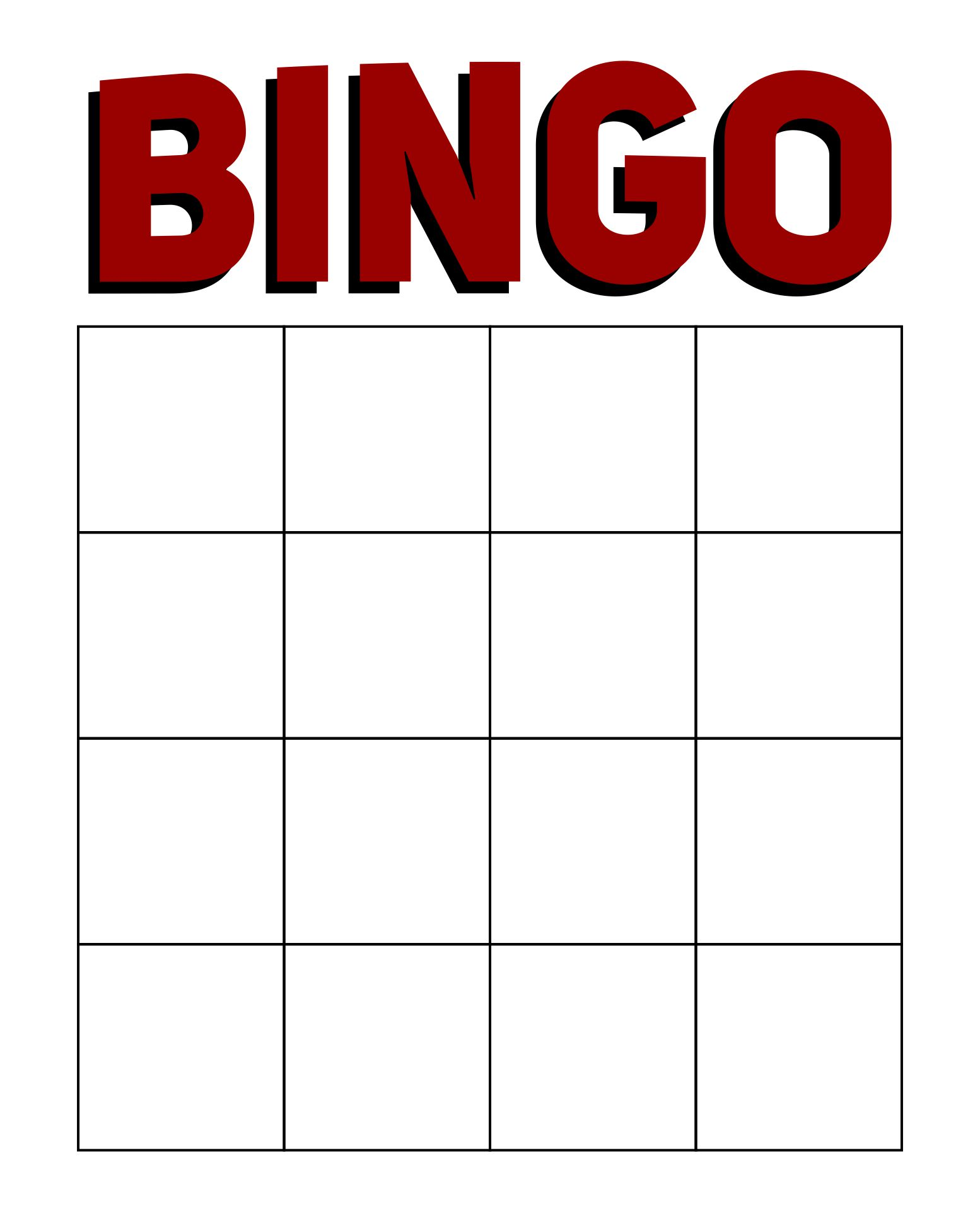 Printable Bingo Template