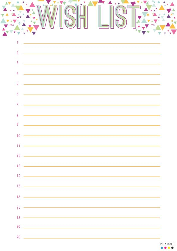 Wish List Printable