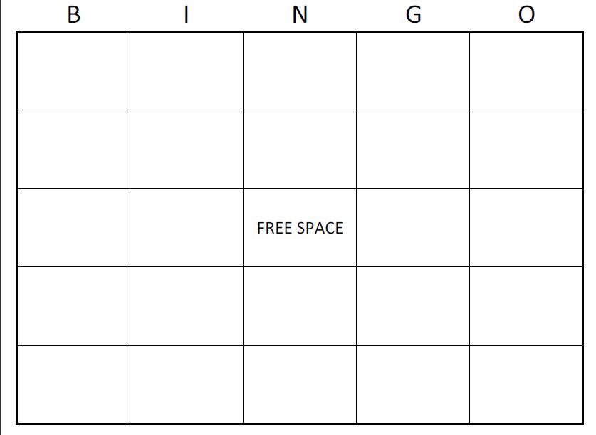 Excel Bingo Card Printable Template