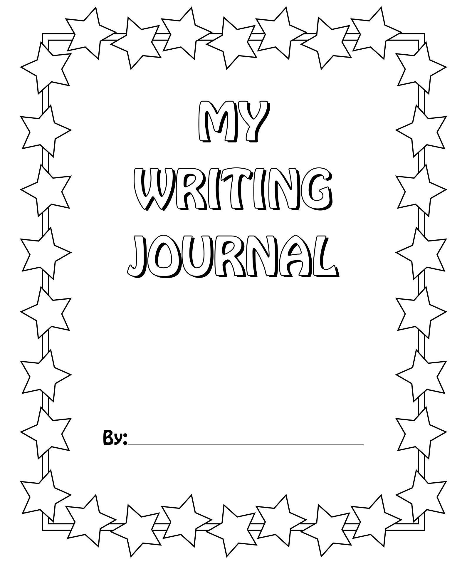 Journal Cover Writing Page Printable