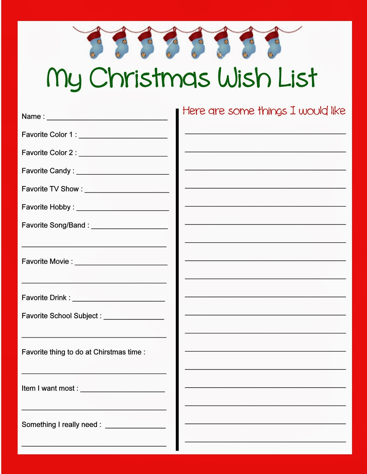 Kids Christmas Wish List Printable
