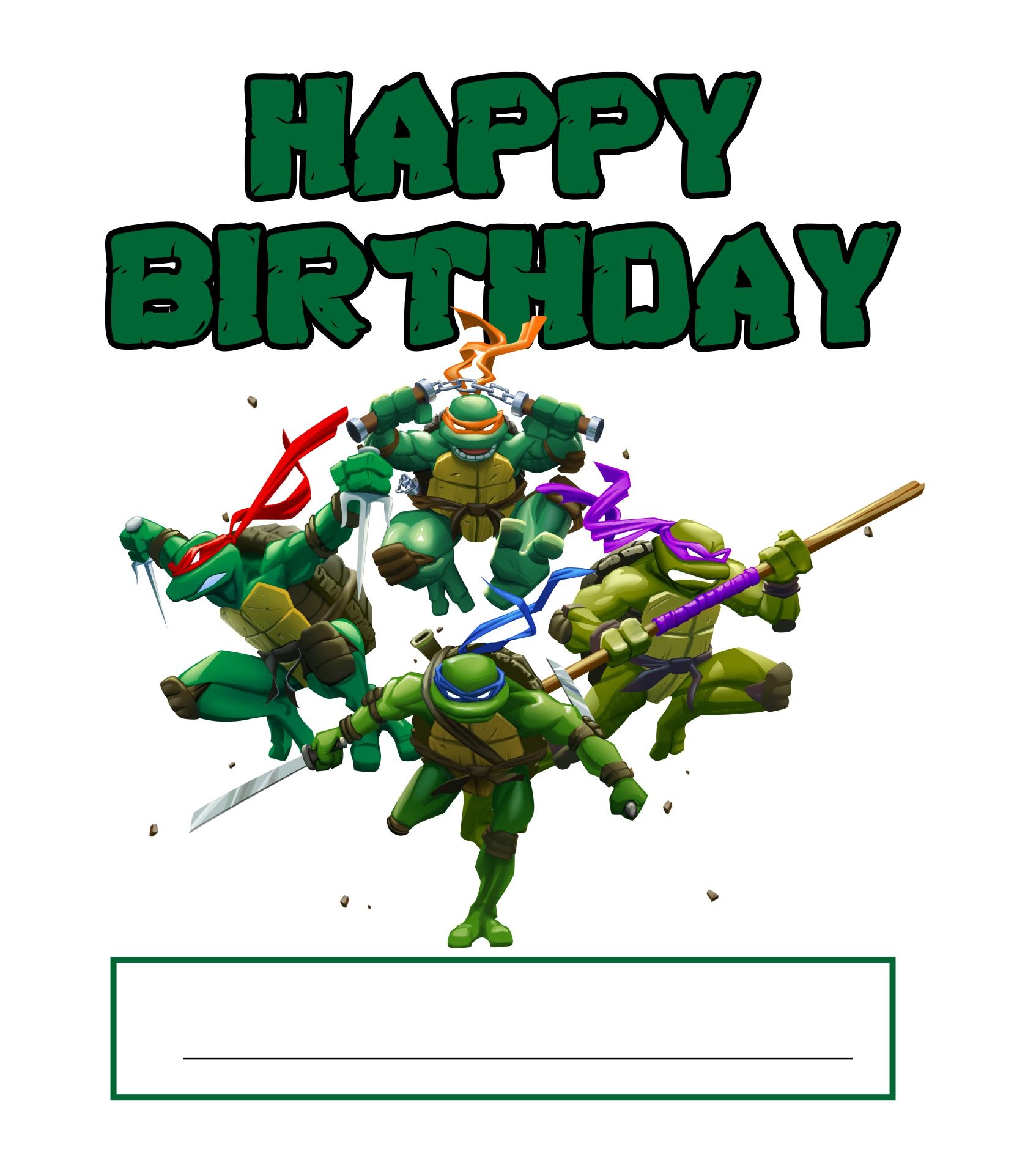 TMNT Printable Birthday Cards Birthday