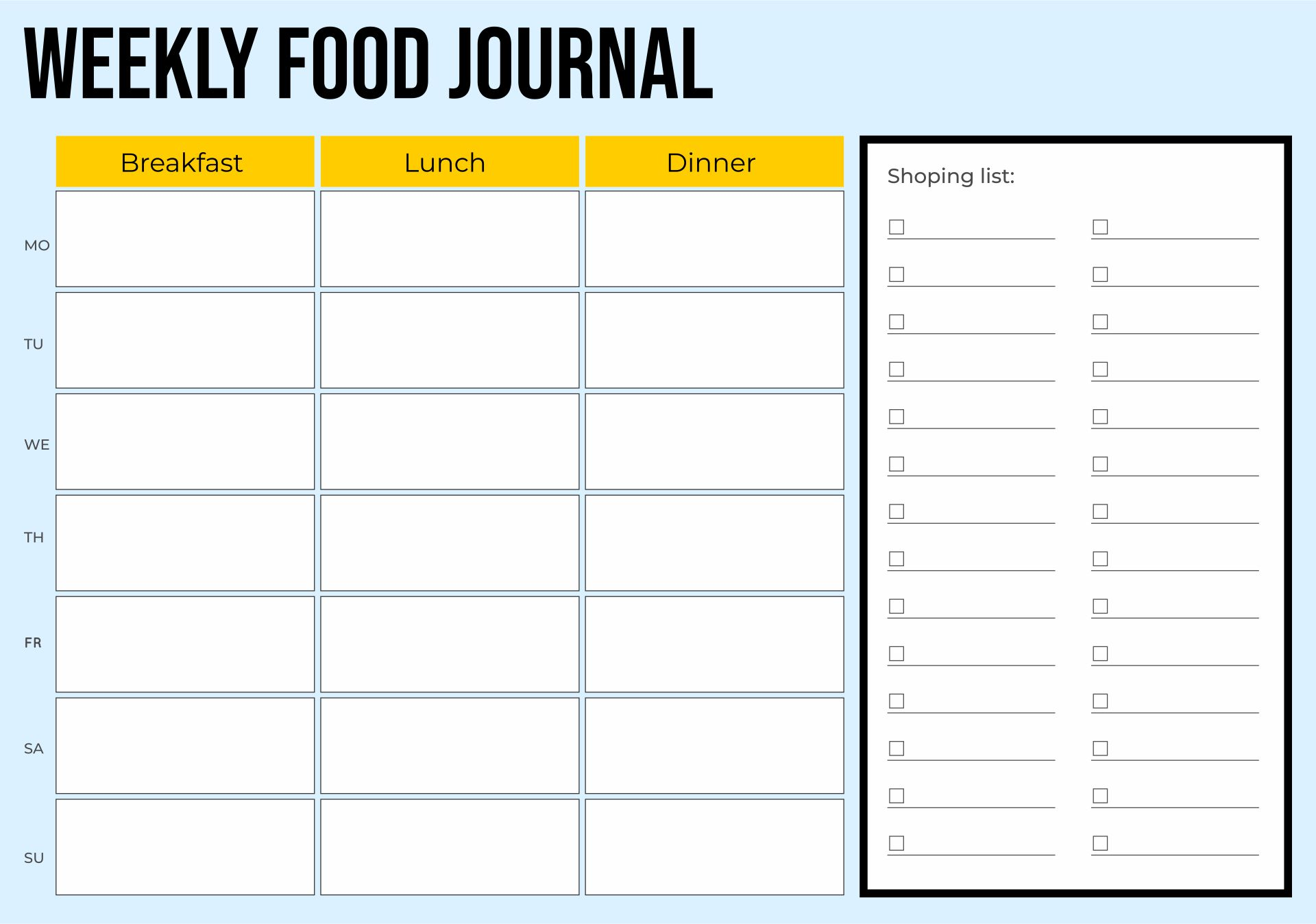 Printable 7-Day Food Journal