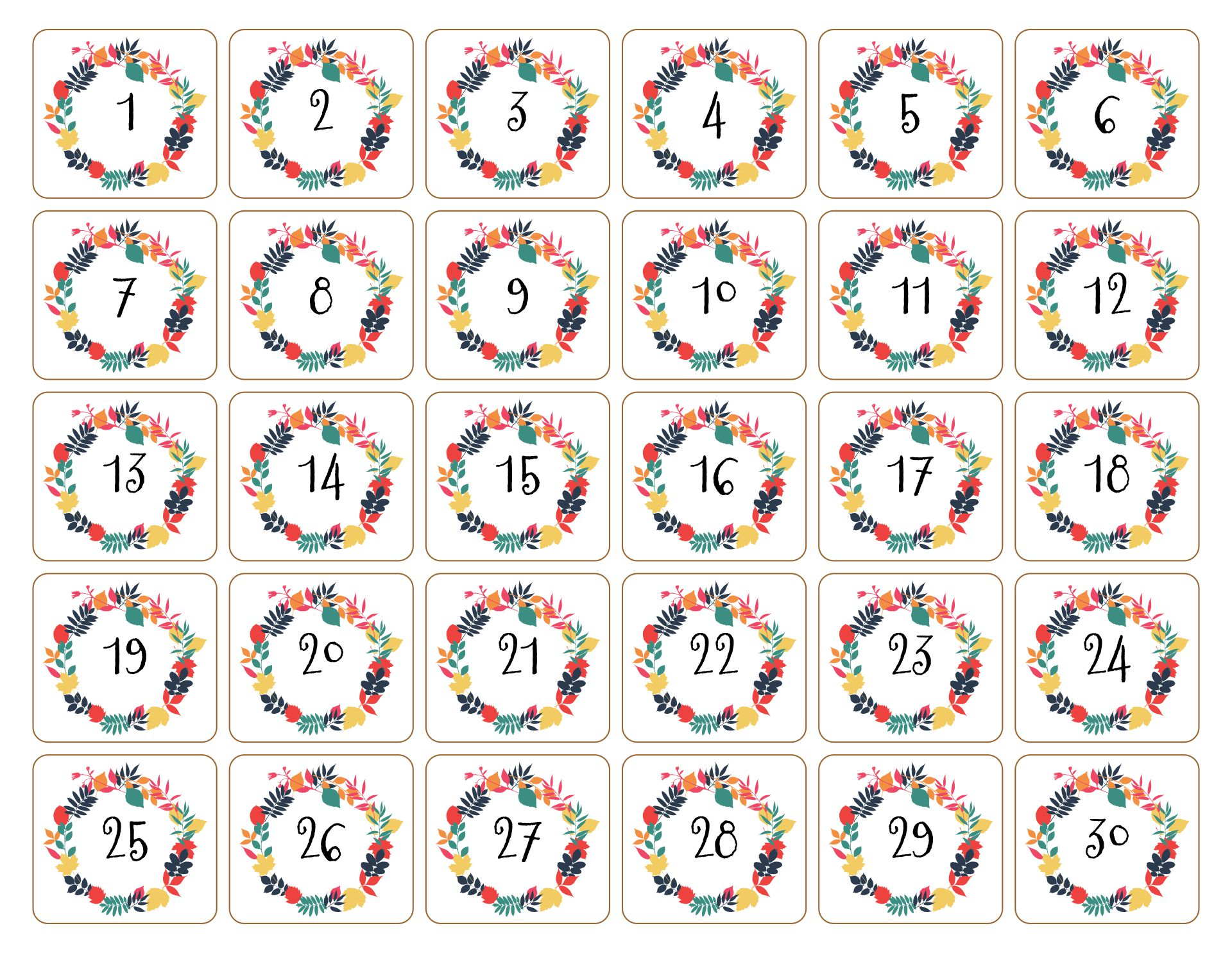 Thanksgiving Countdown Calendar Printable