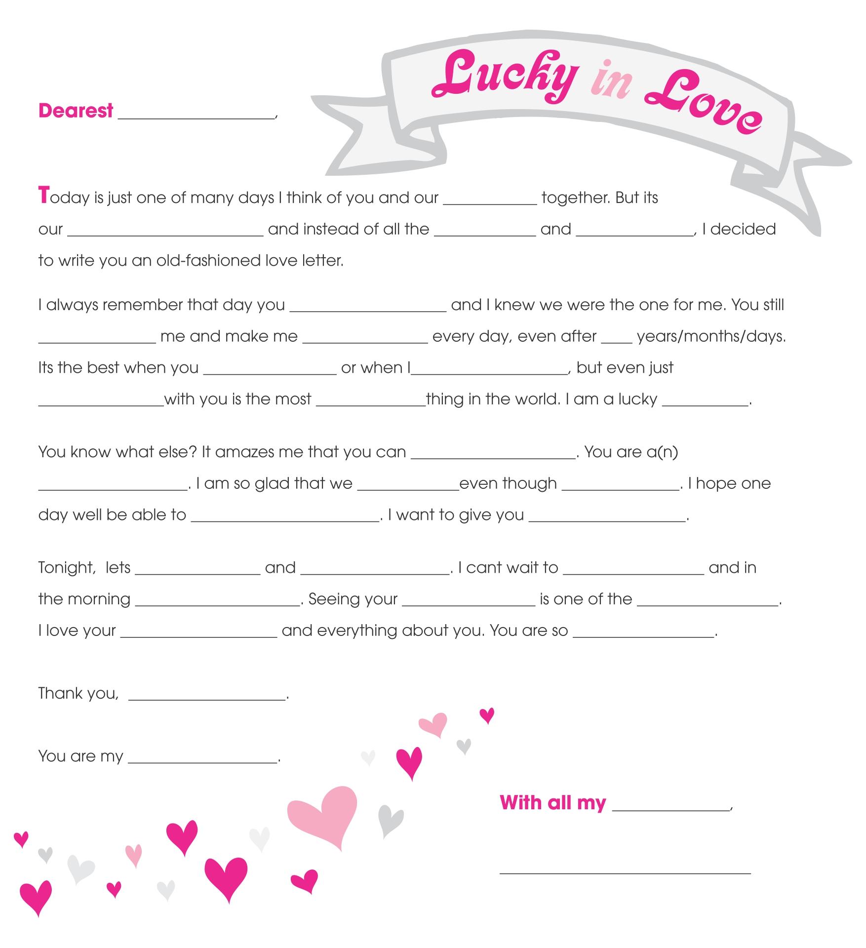 Love Letter Mad Libs Printable