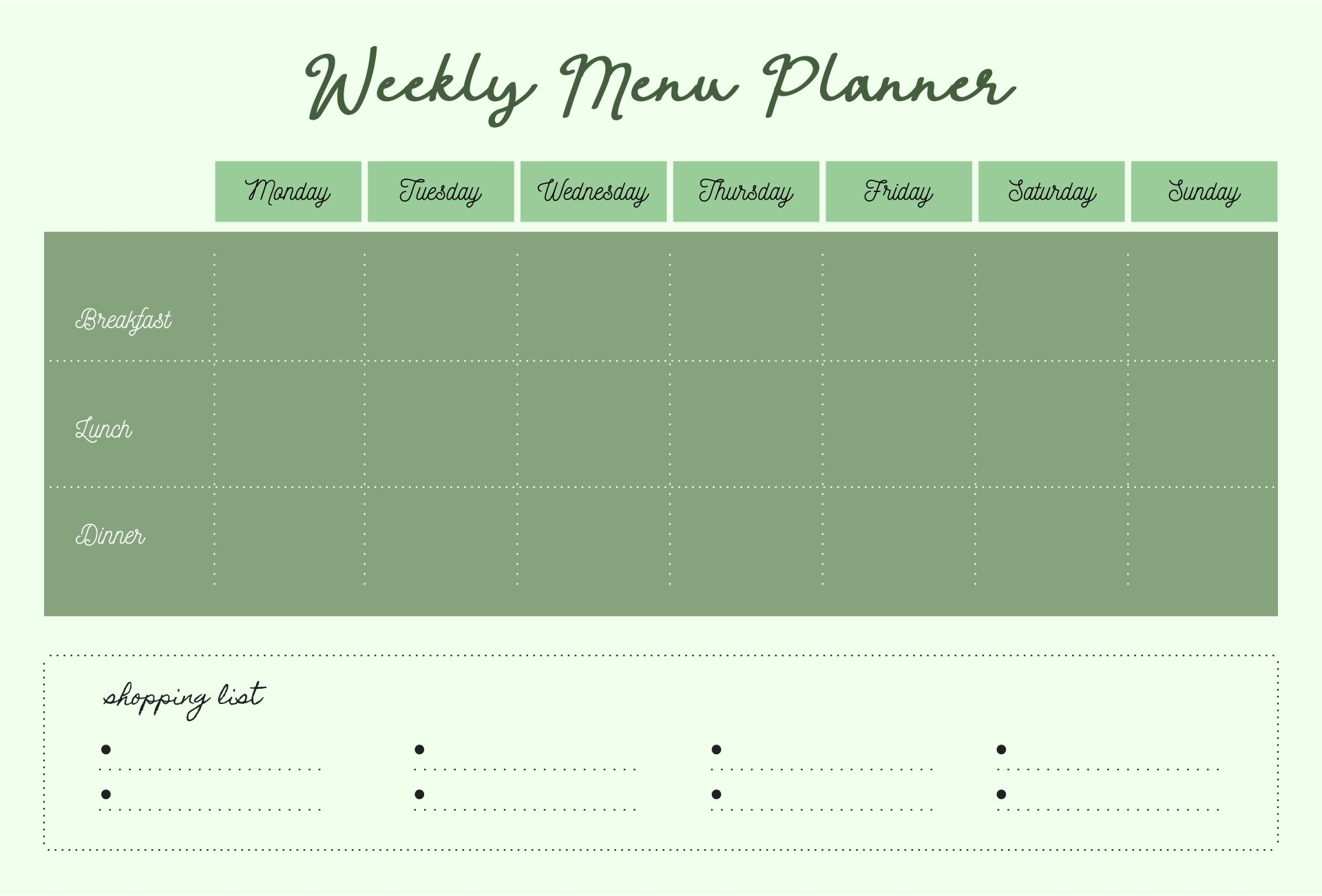 Blank Meal Planner Sheet Printable