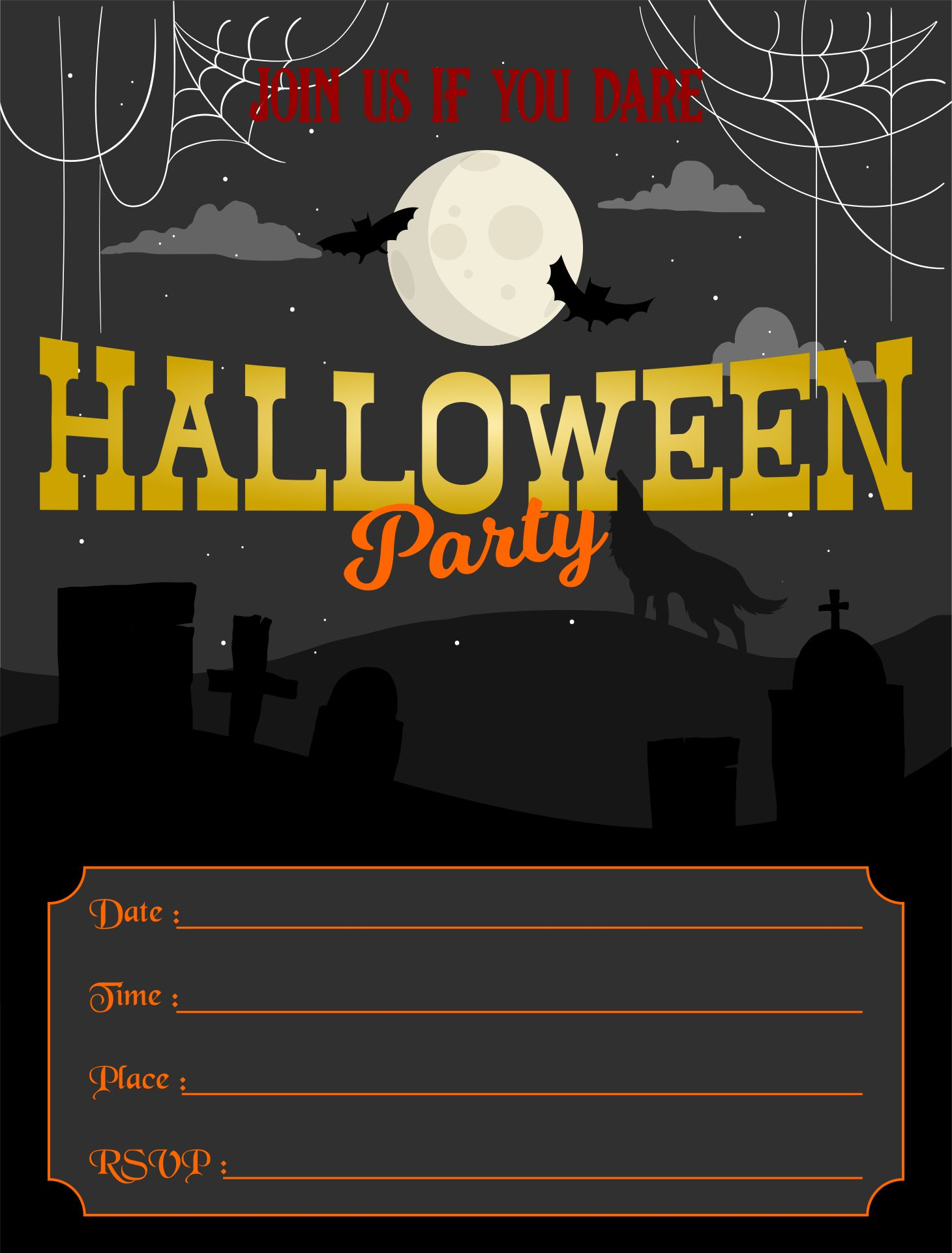 Scary Halloween Party Invitations Printable