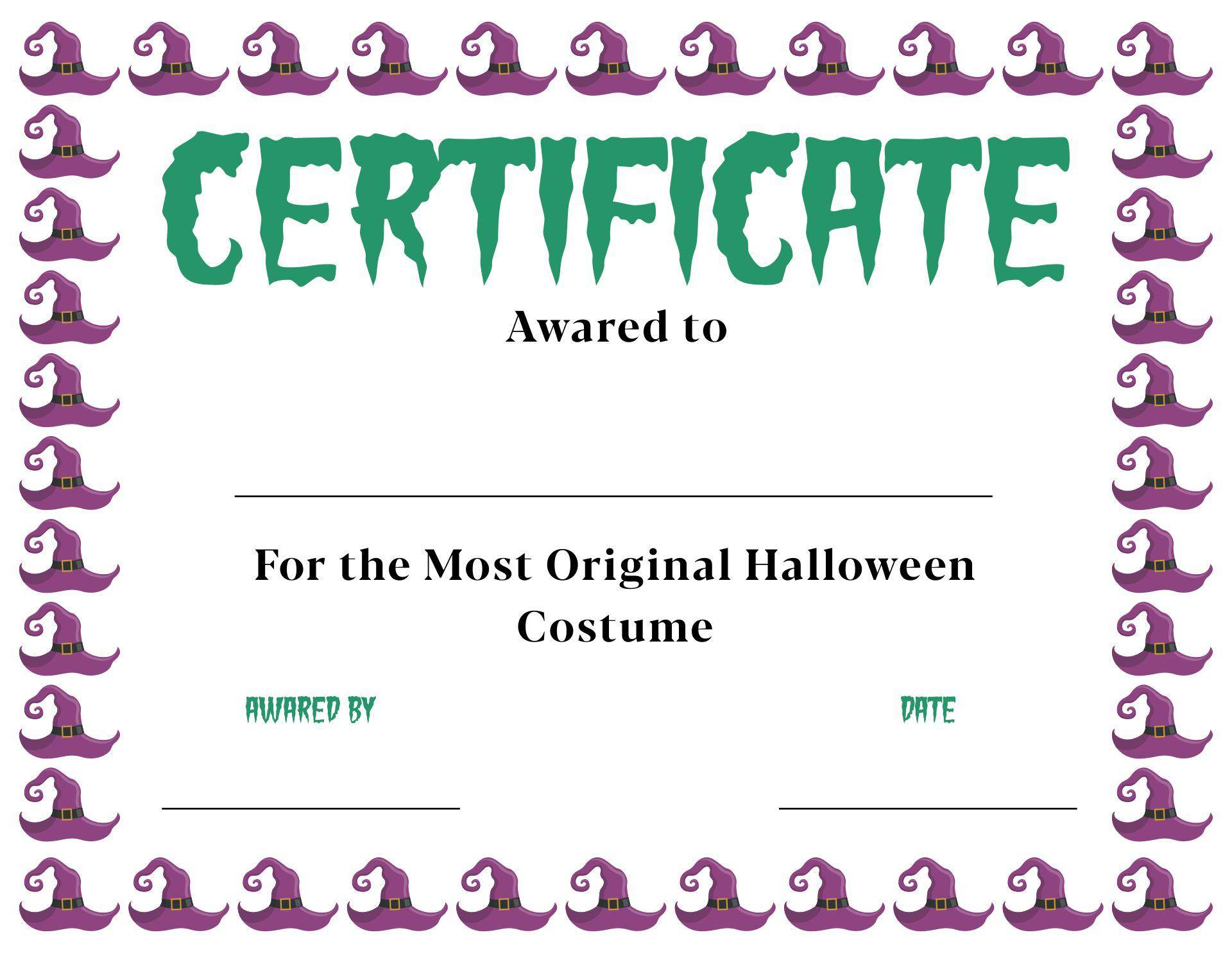 Halloween Costume Awards Printable