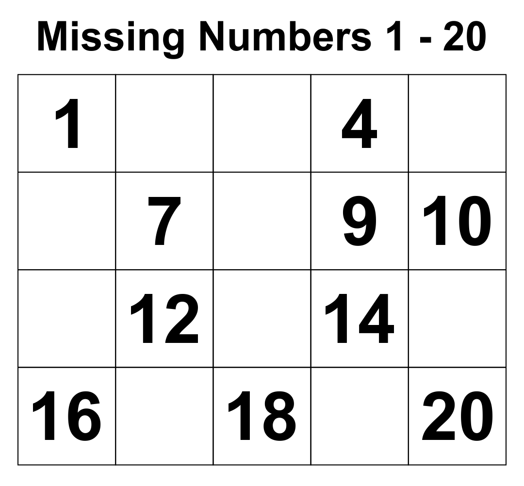 Writing Numbers 1-20 Printables