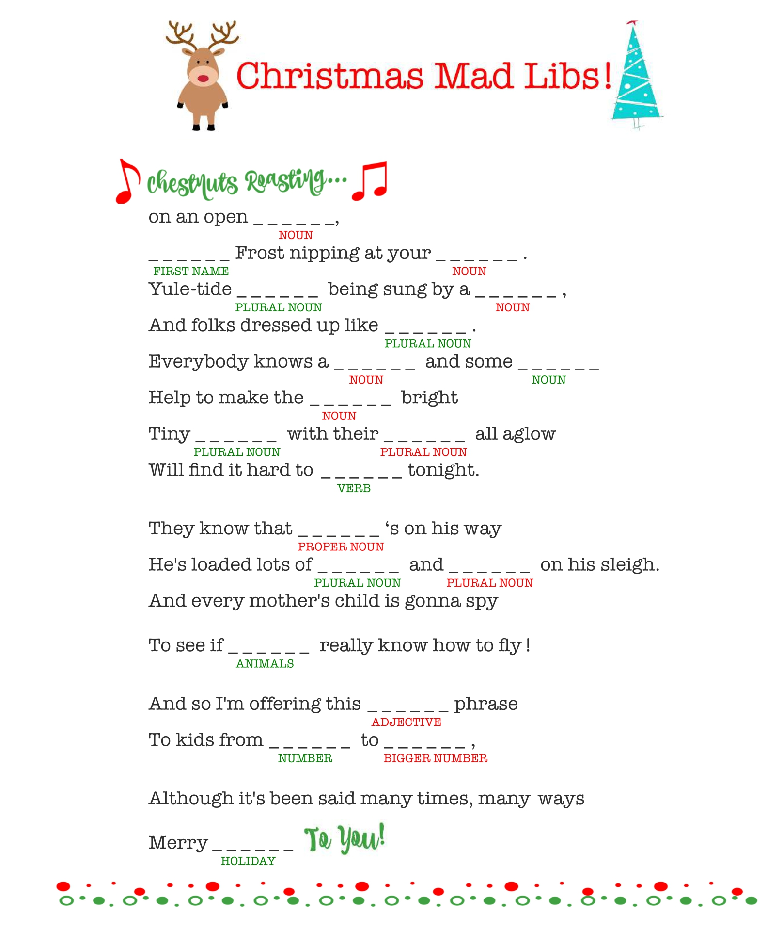Printable Christmas Carol Mad Libs