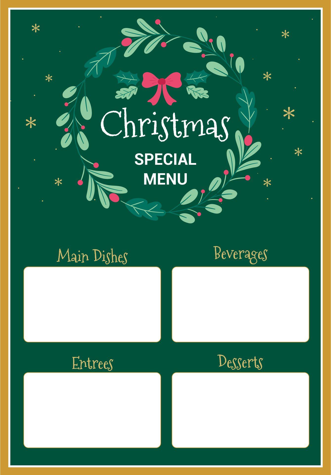 Printable Christmas Menu Templates