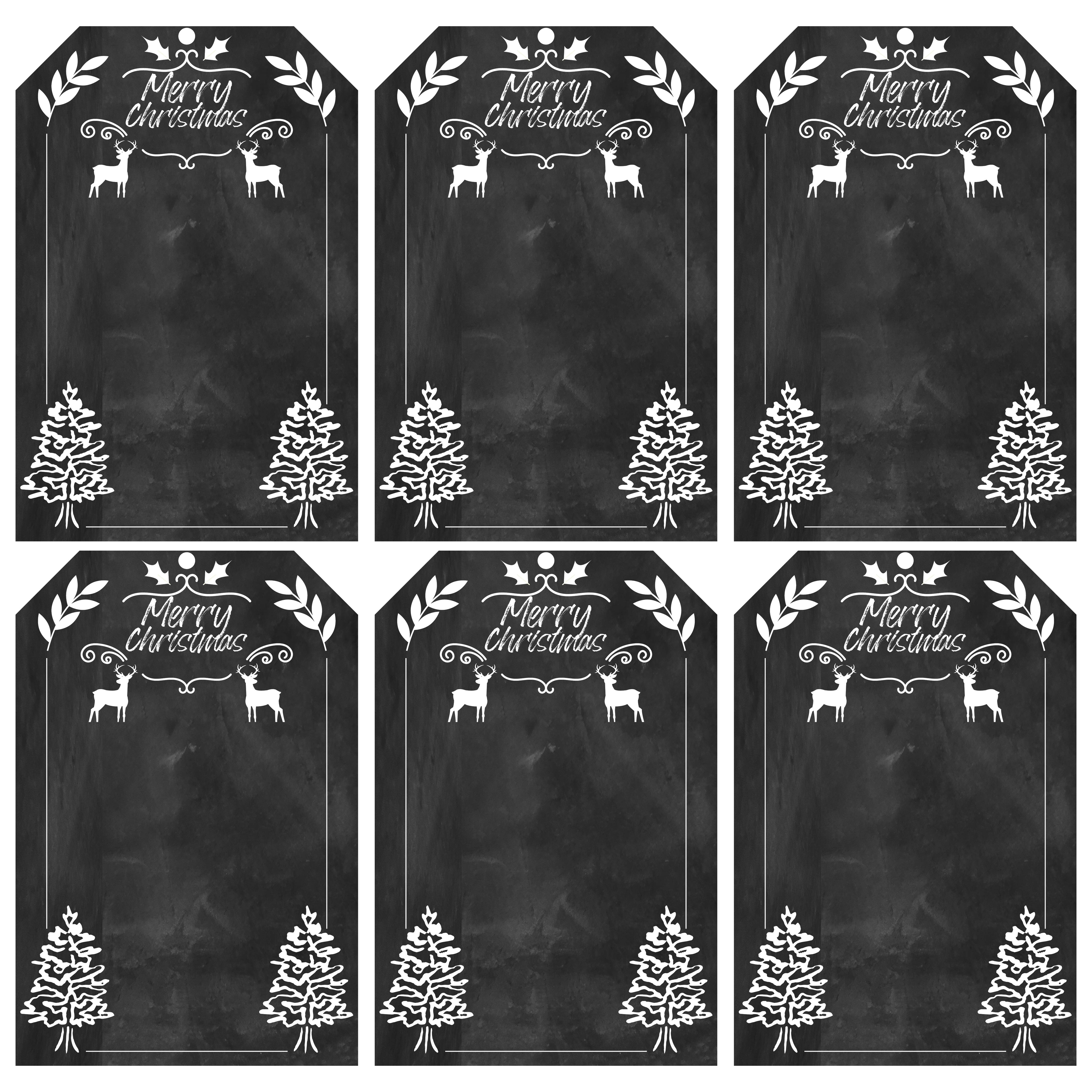 Printable Christmas Gift Tags Chalkboard