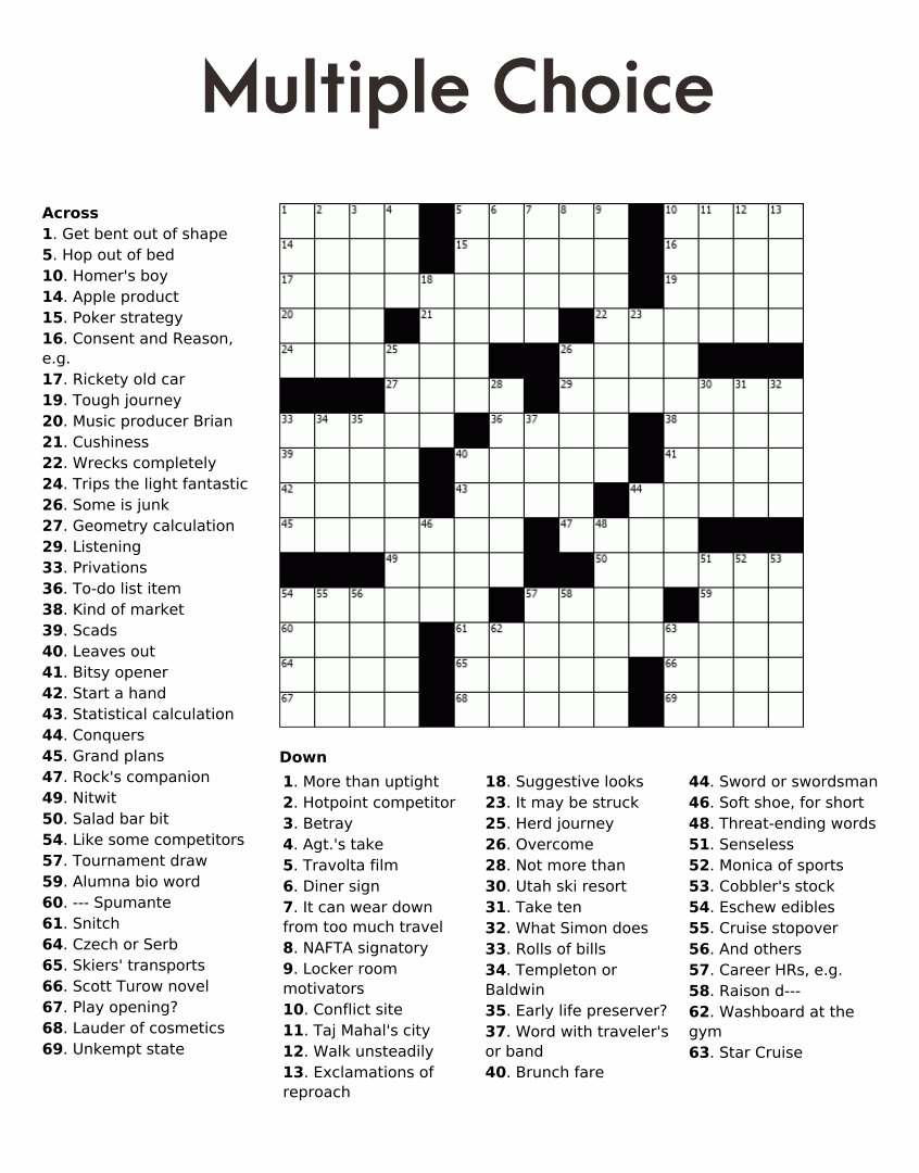 Printable Entertainment Crossword Puzzles
