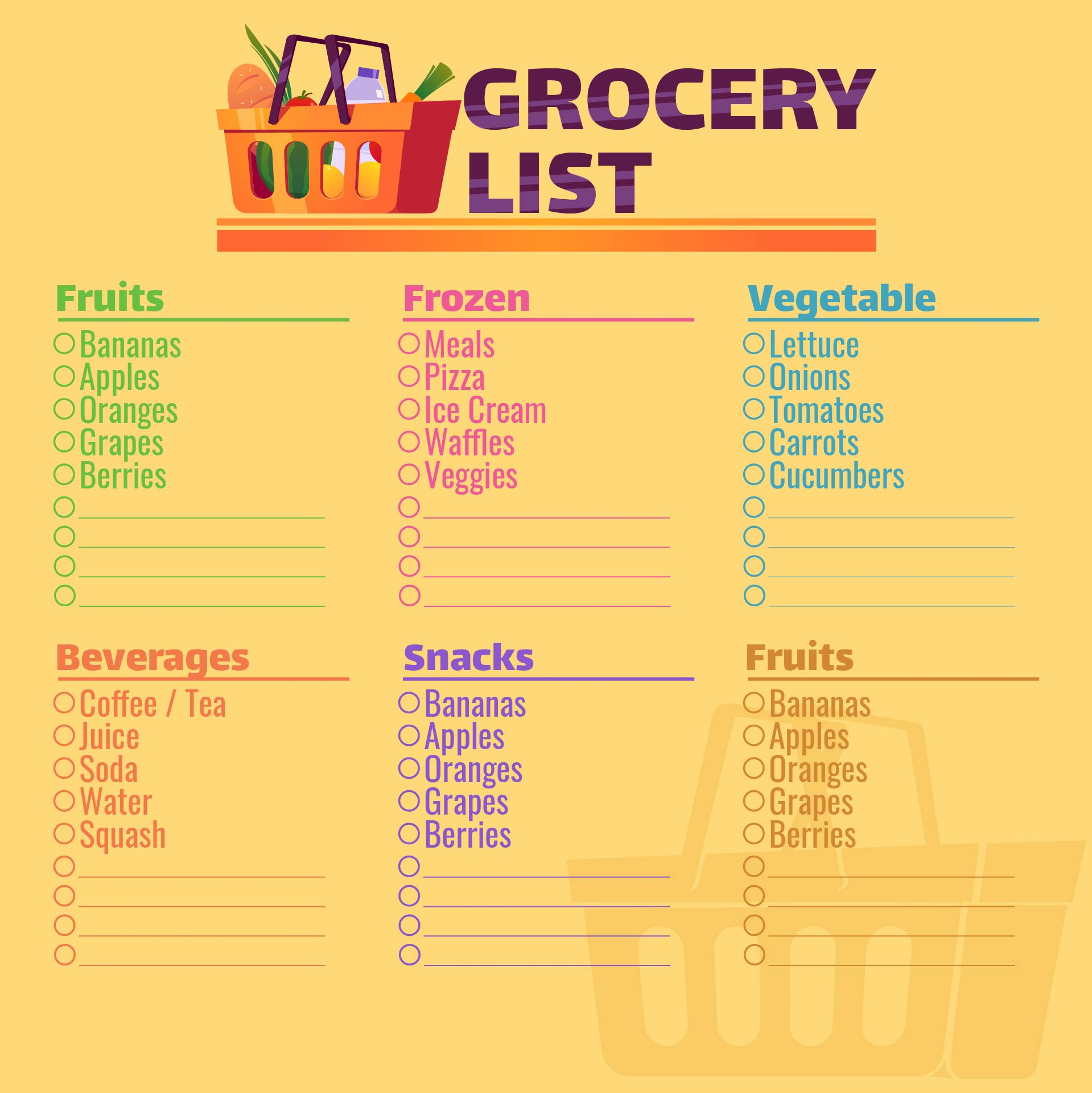 Printable Grocery Shopping Organizer