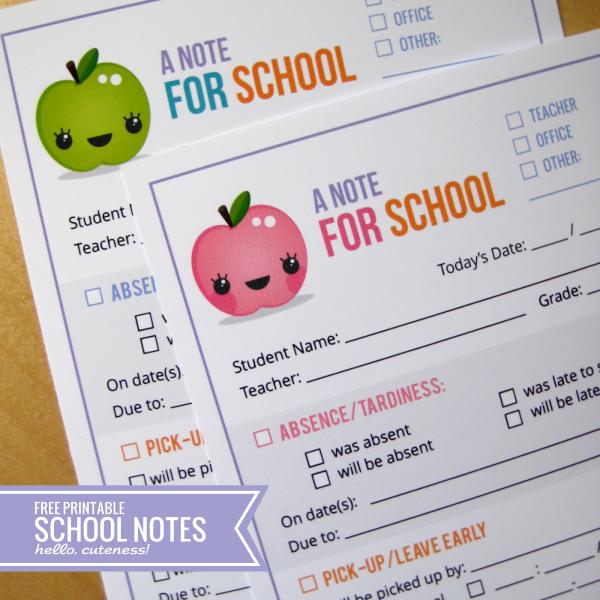 Printable School Notes