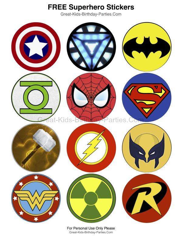 Superhero Printable Stickers