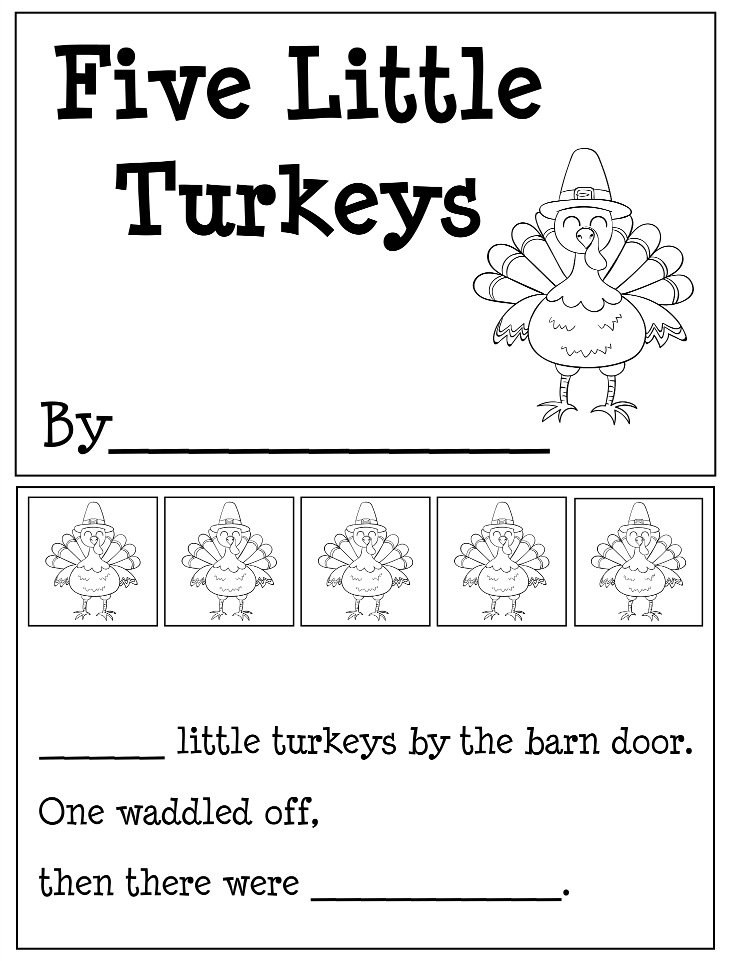 Printable Thanksgiving Books For Kindergarten