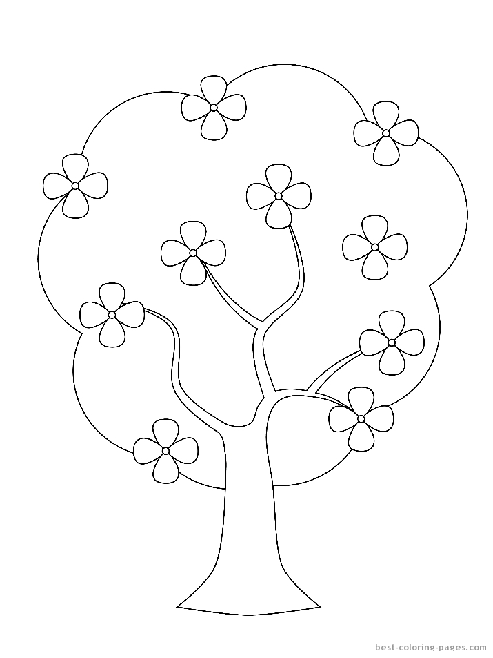 4 best images of printable tree coloring page flowers for Coloring pages trees plants and flowers