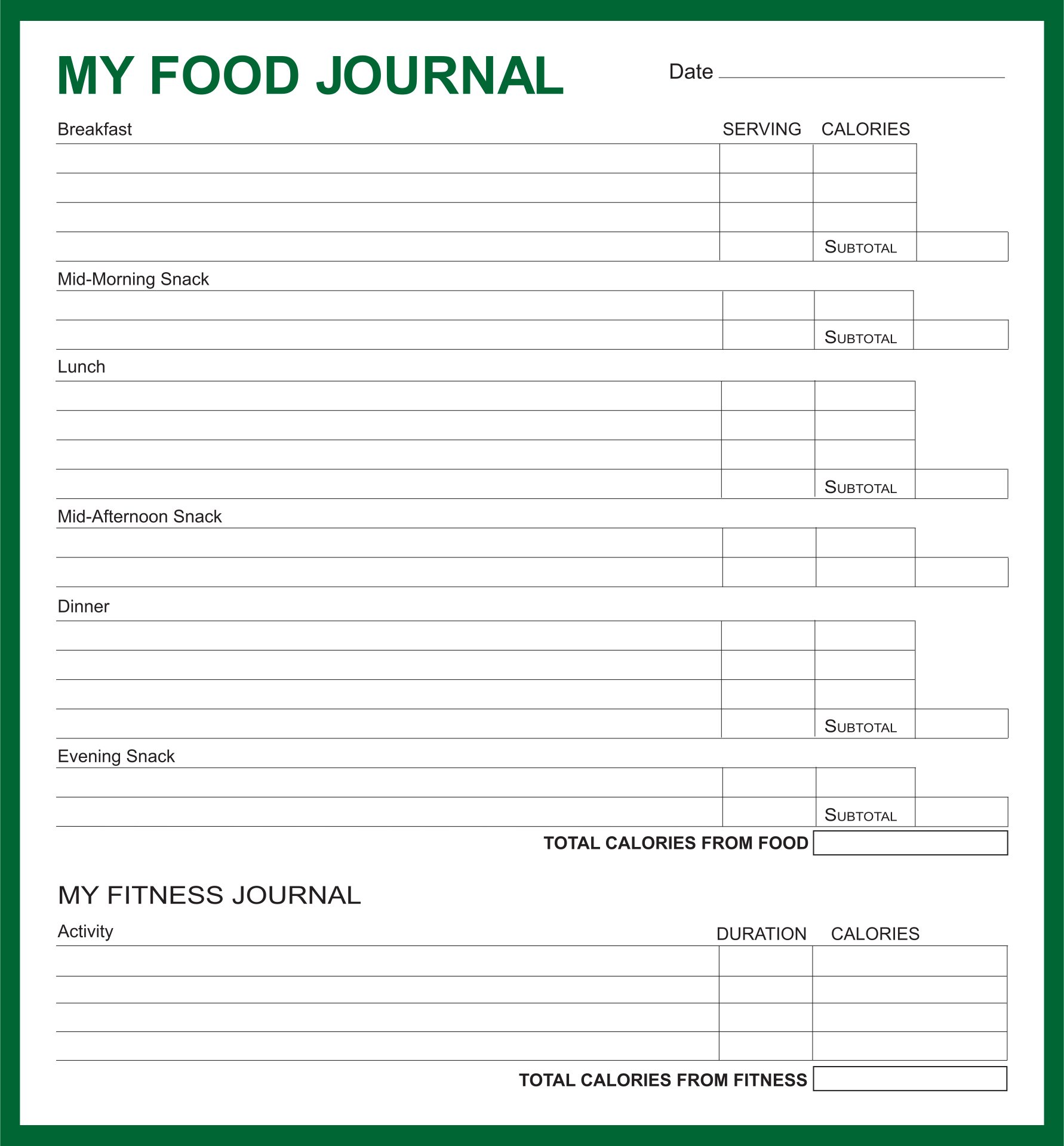 Weight Watchers Food Journal Printable