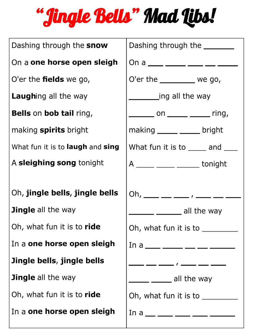 Blank Printable Christmas Mad Libs