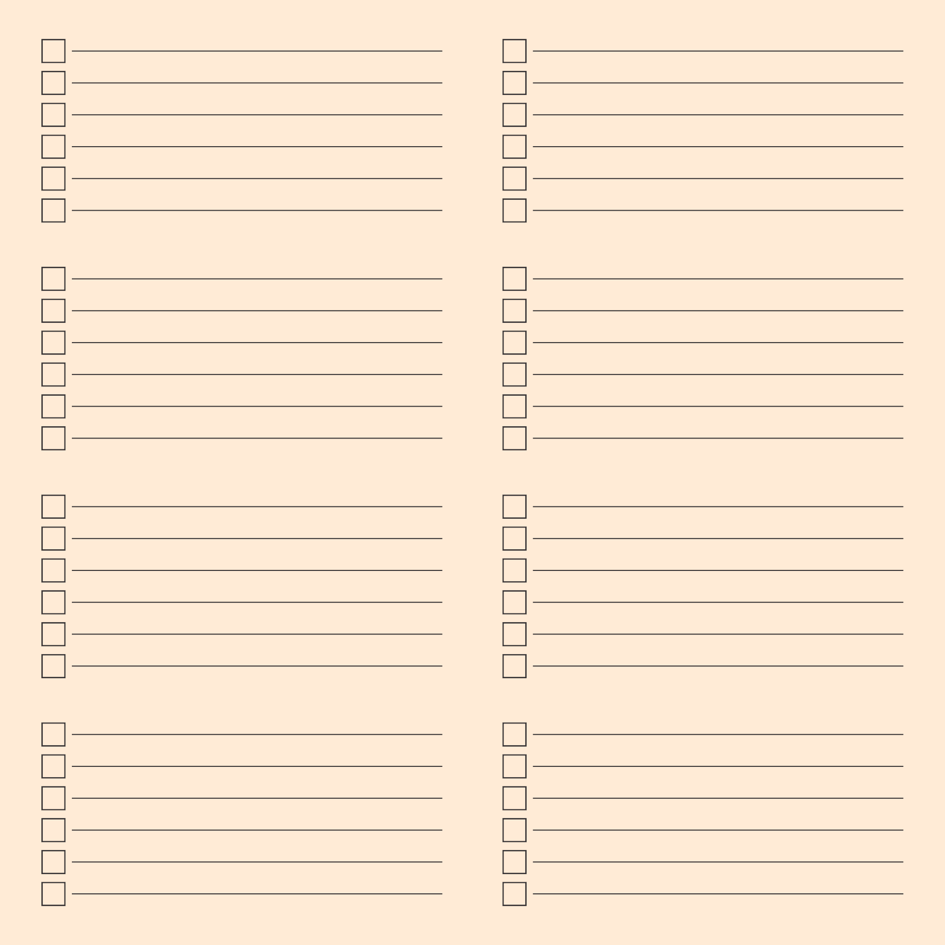 Editable Blank Printable Checklists