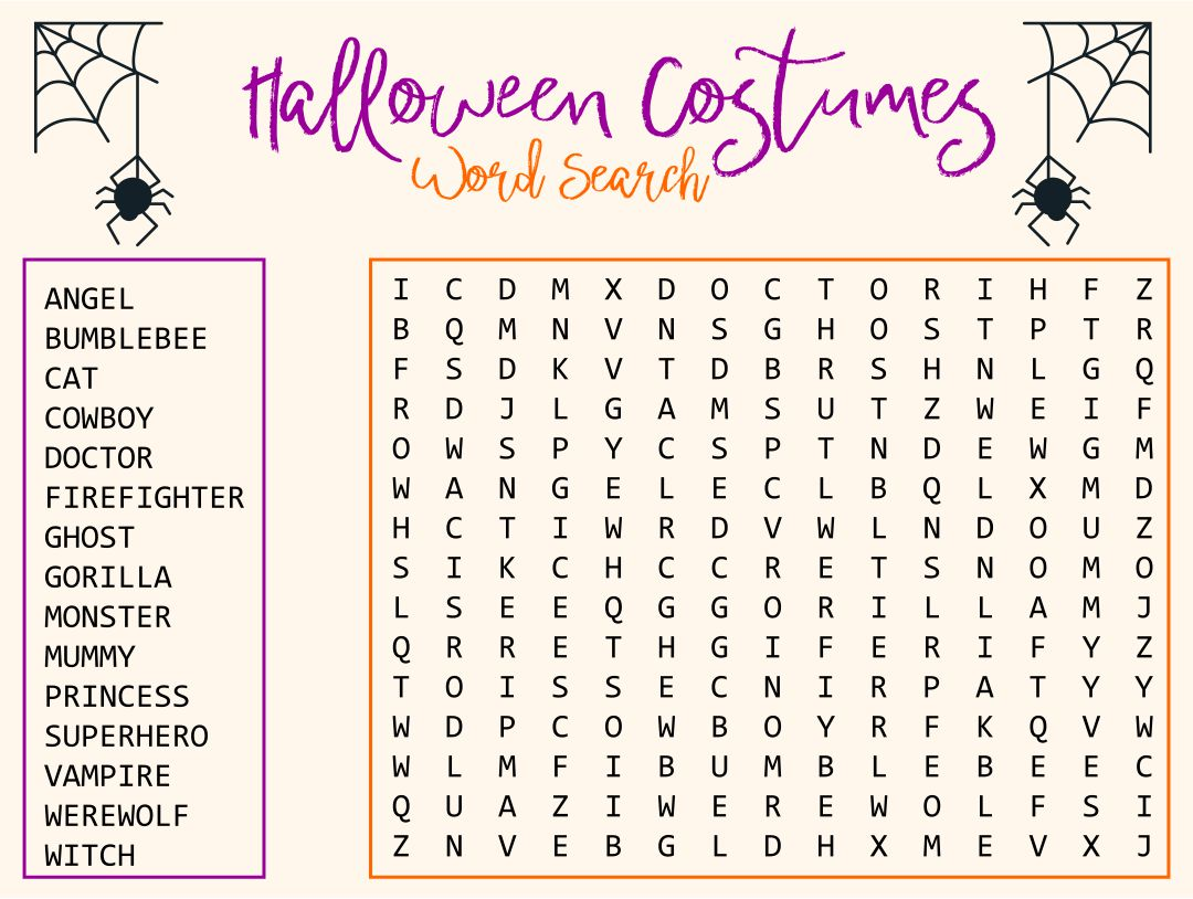 Printable Halloween Word Search For Kids