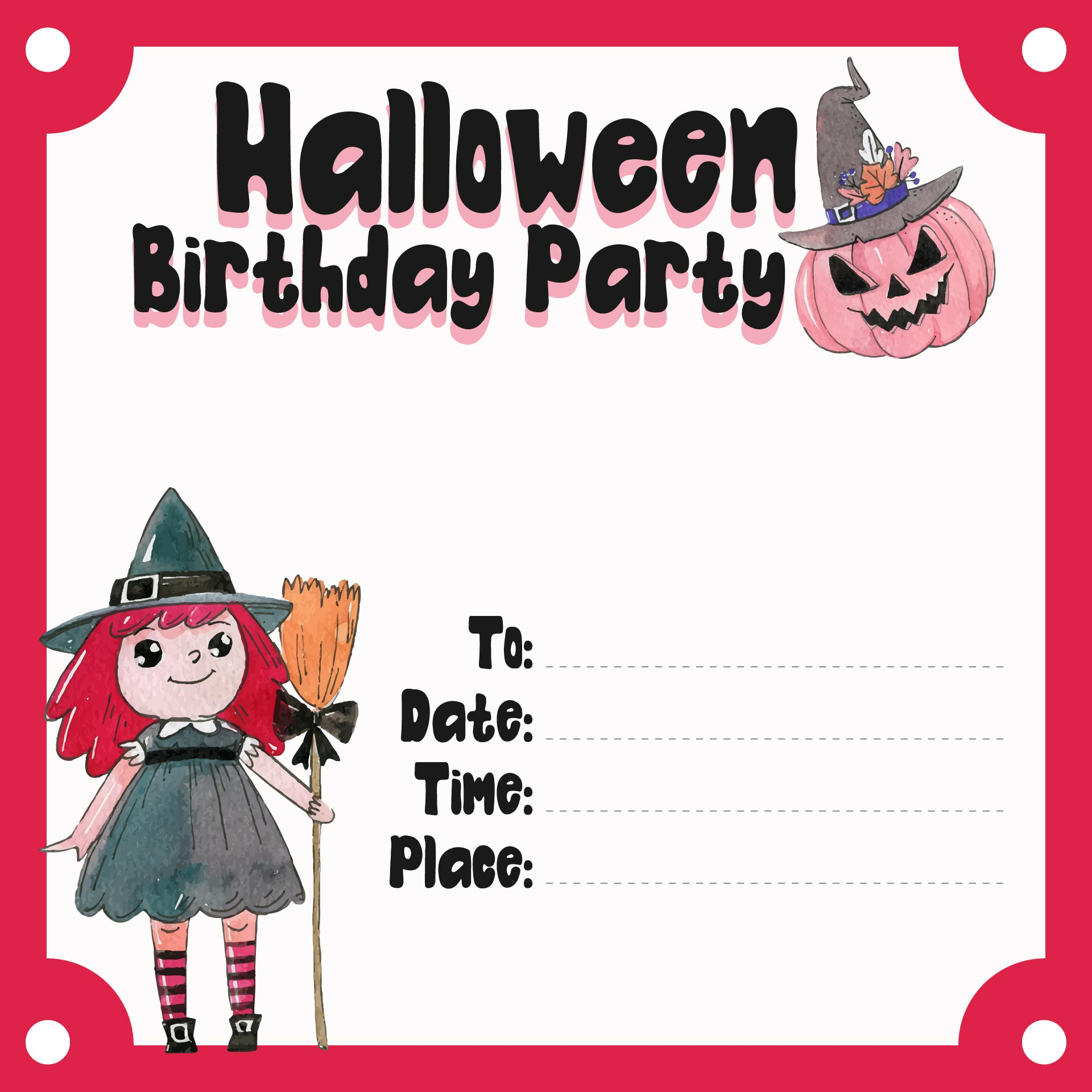 Halloween Party Printable Birthday Invitations