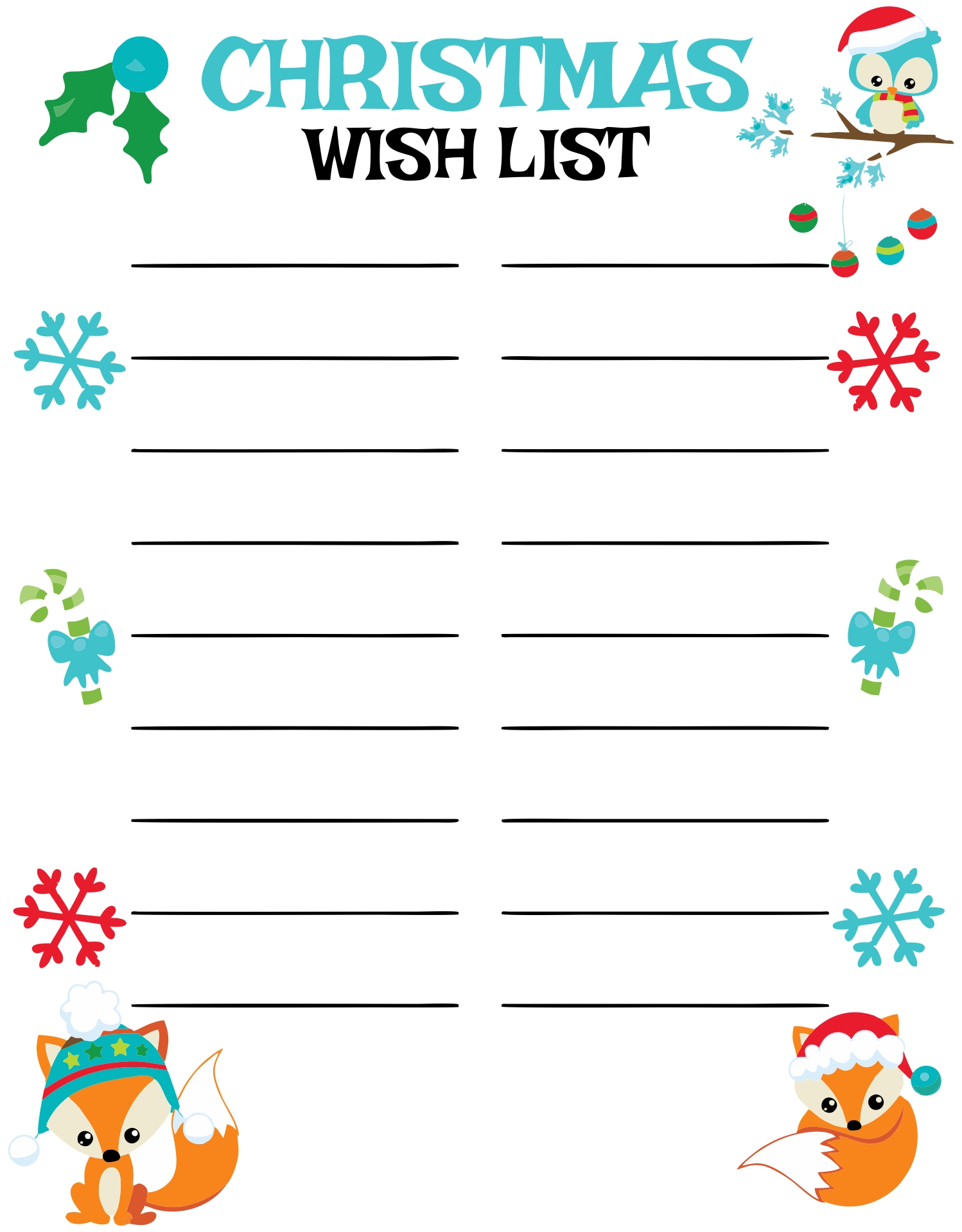 Blank Christmas Wish List Printable