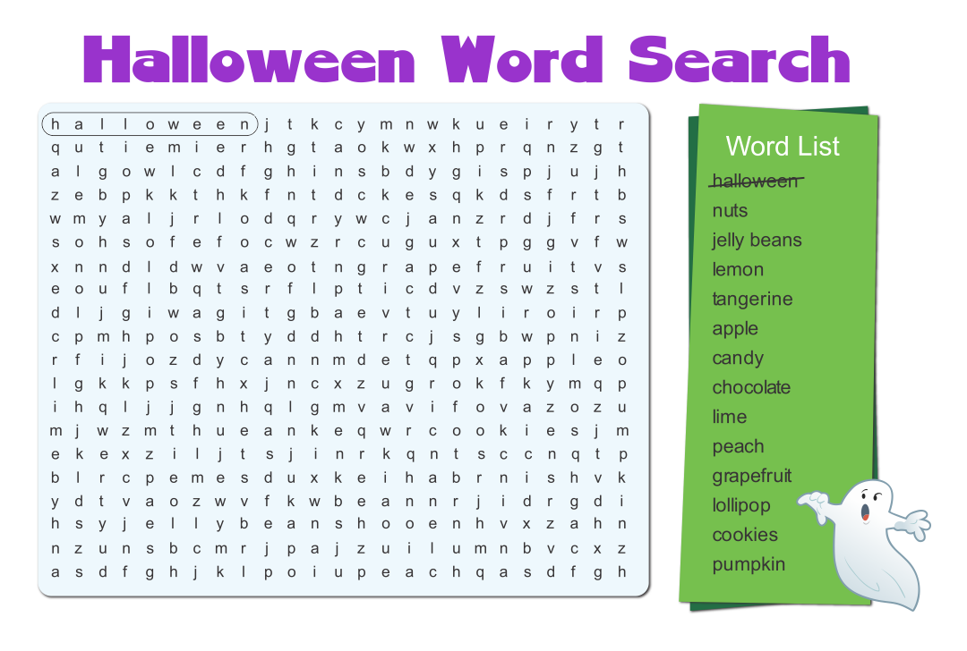 Easy Halloween Word Search Printable