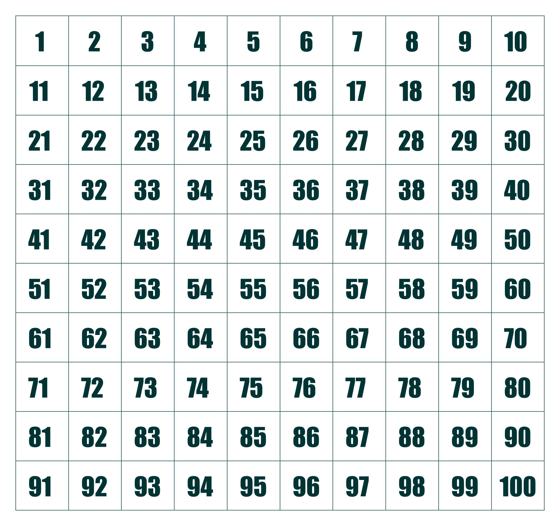 Printable 100 Square Grid