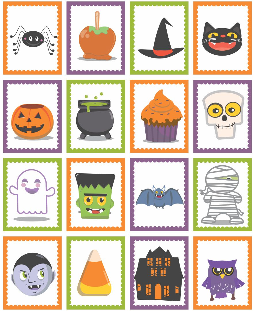 Black And White Halloween Memory Game Printable