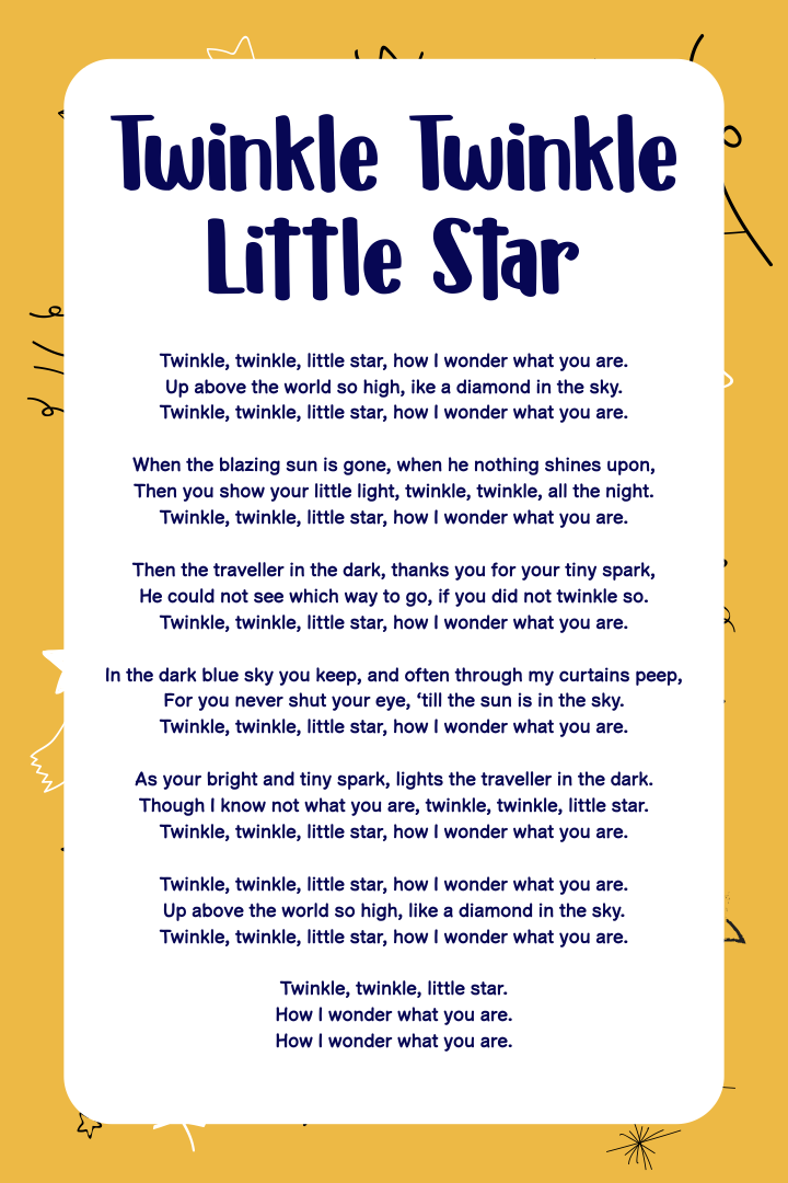 Twinkle Twinkle Little Star Printable Poem