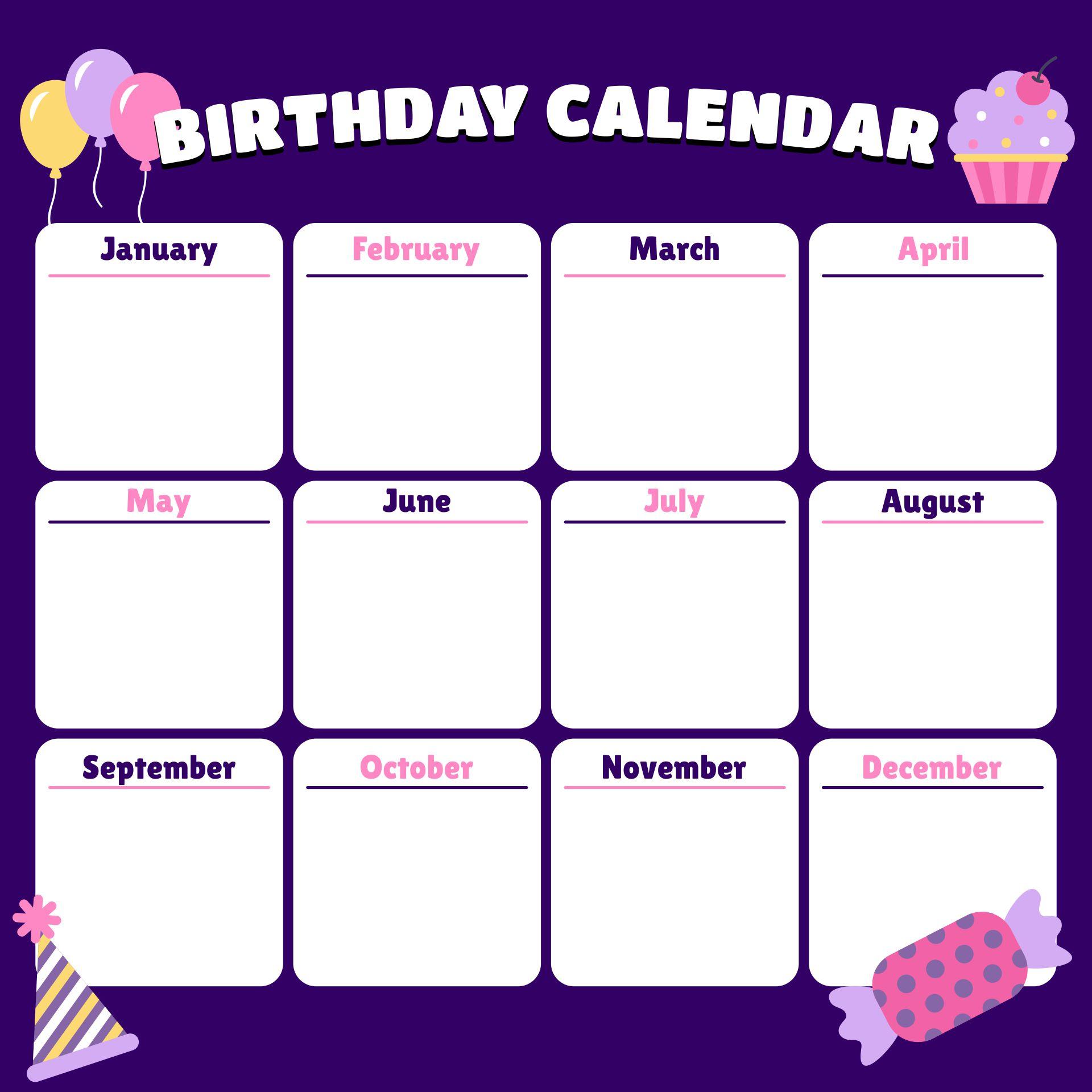 Office Birthday List Printable