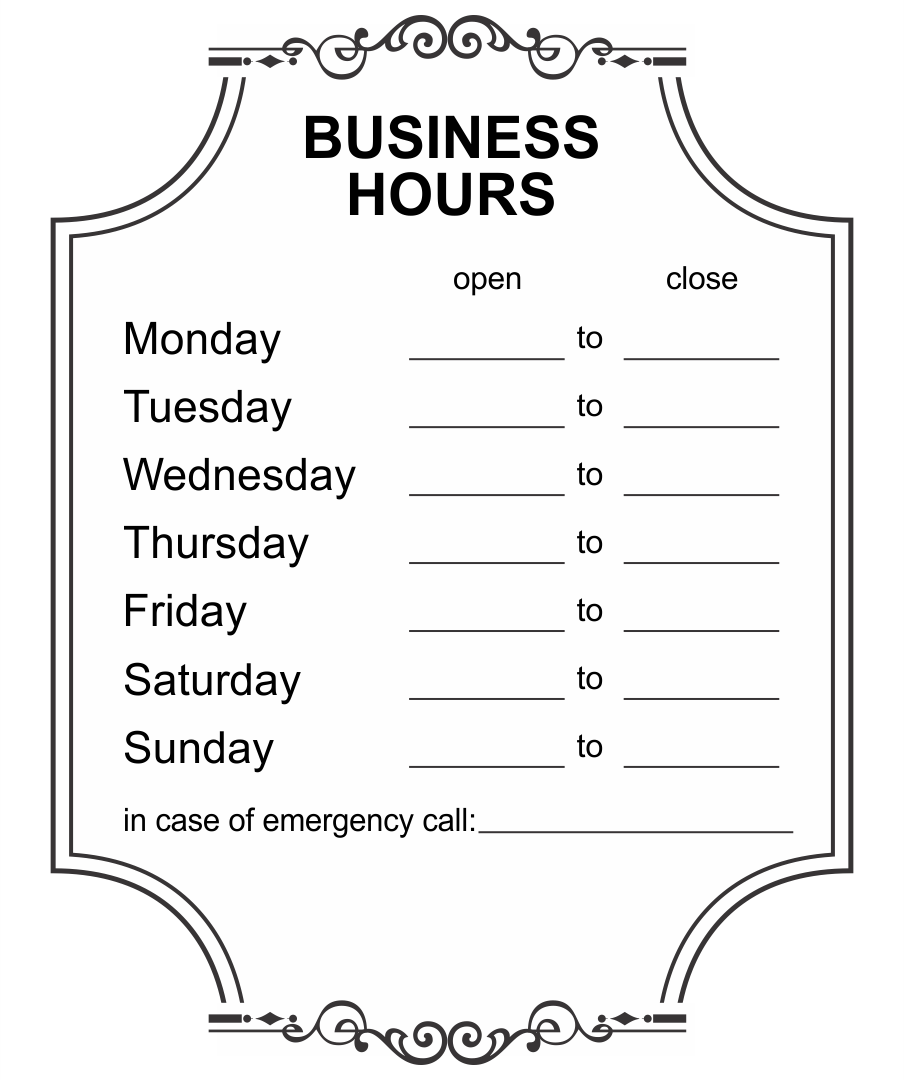 Printable Office Hours Sign