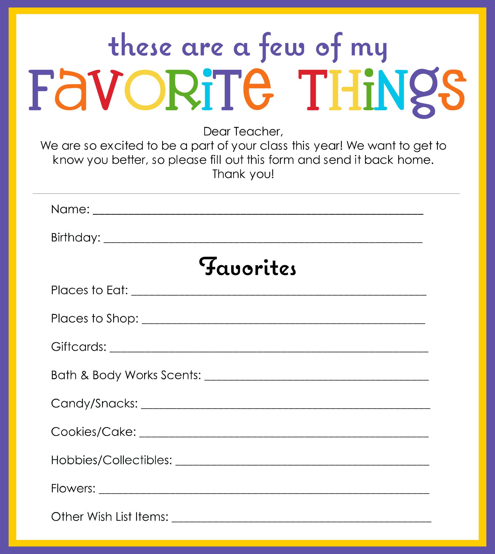 My Favorite Things Template Printable